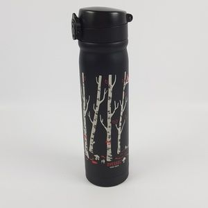 One vessel travel coffee tea mug black flowers